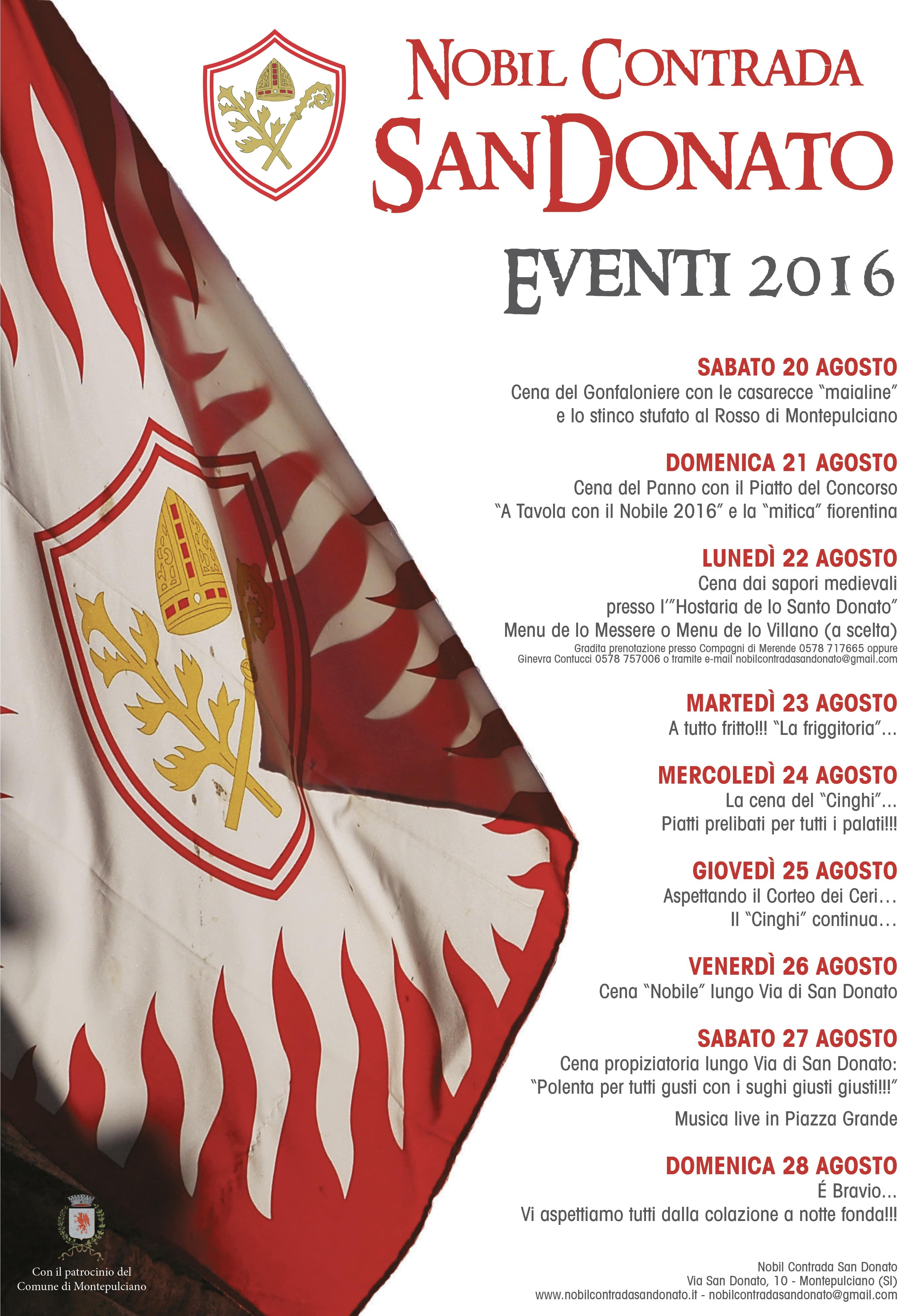 Programma Eventi 2016… Aspettando il Bravio delle Botti